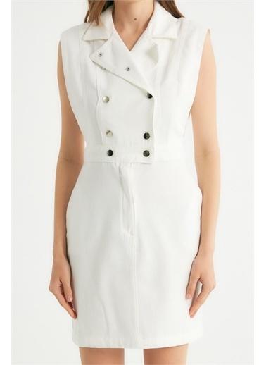 Robin Robin Çıt Çıt Detaylı Cepli Jean Elbise Beyaz Beyaz